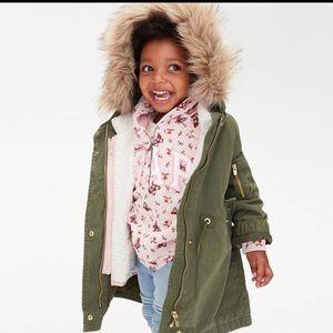 NWT baby gap 3 in 1 Sherpa jacket army green 5 yr